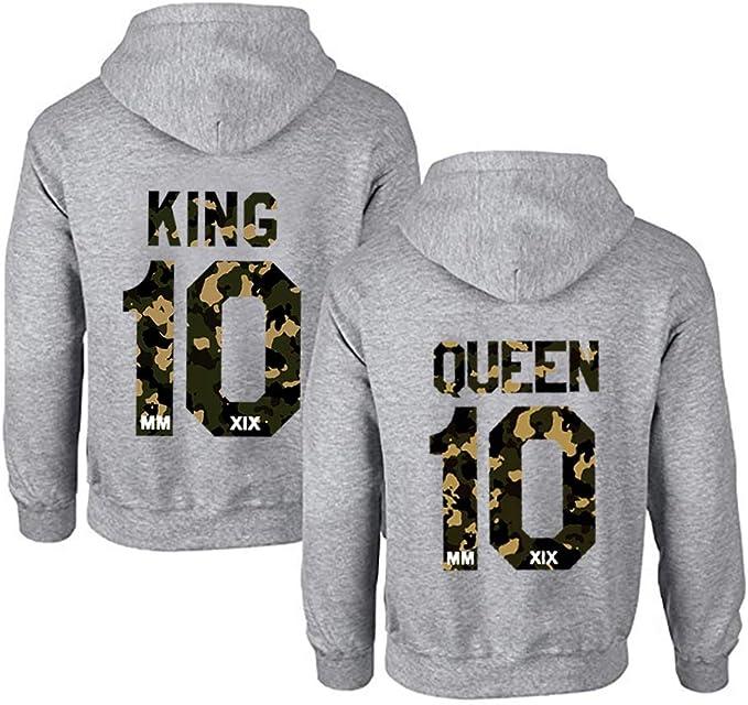 KING QUEEN COPPIA Felpe UOMO /& DONNA Con Cappuccio top qualità top vestibilità