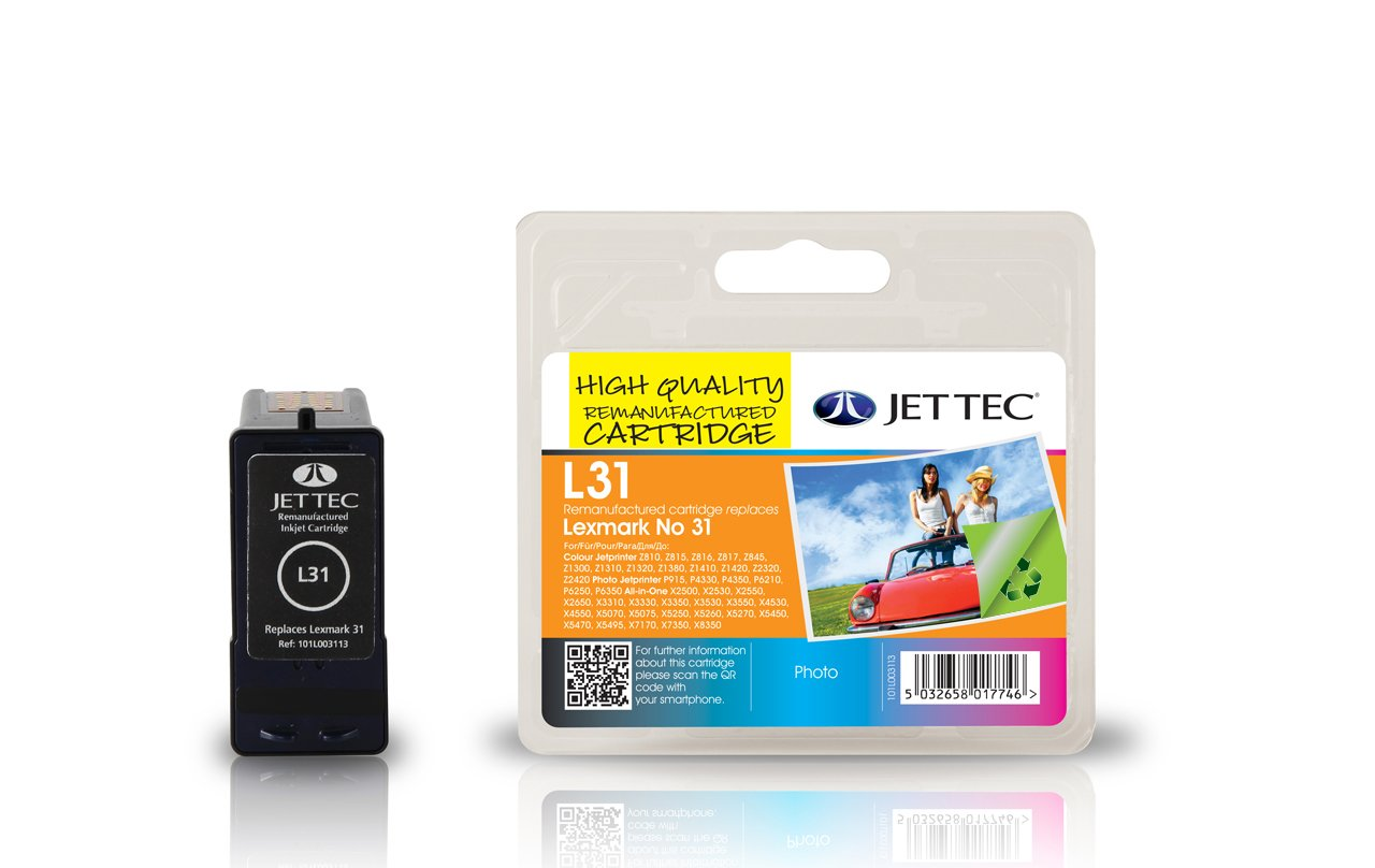Jet Tec 18C0031 - Cartucho de tinta para impresoras (Negro, Lexmark All-in-One X2500 Lexmark All-in-One X2500 Series - NOT X2580 Lexmark All-in-One X2530, ...