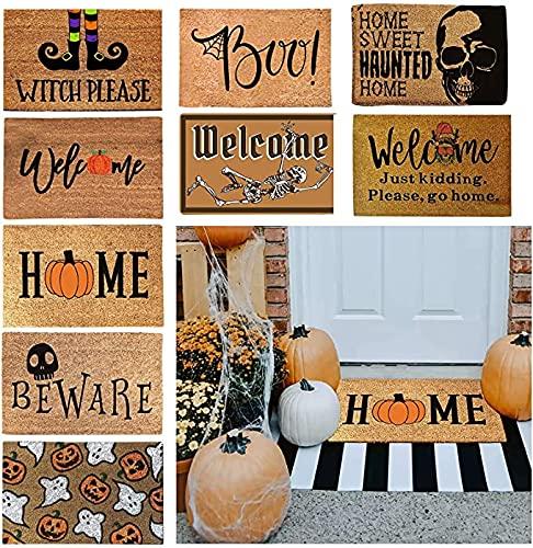 Halloween Doormat Blanket Welcome Home Front Door Decorations Halloween Decor Door Mat Anti-Slip Bottom Indoor Outdoor Bedroom Living Room Carpet