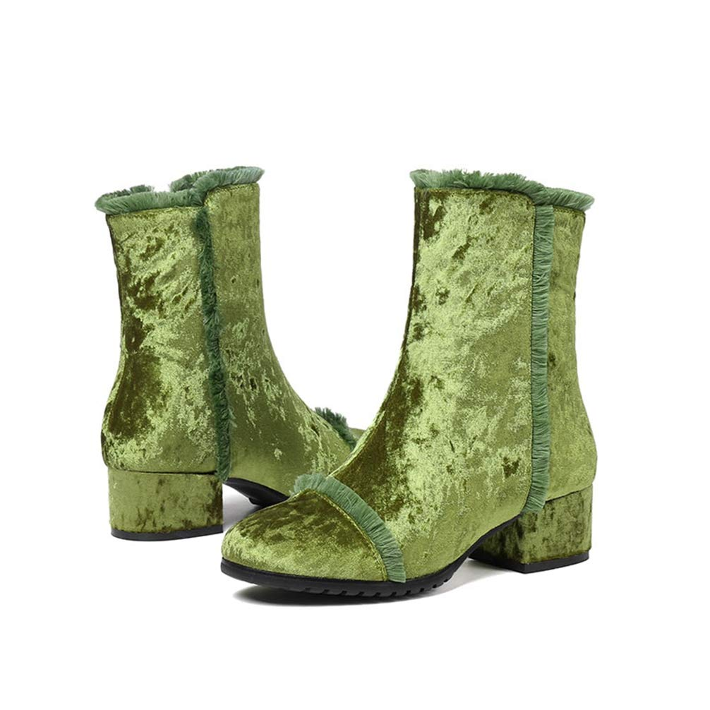 3fccd3a92c8 Amazon.com | New Lady Purple Fringe Boots Zip Ankle Boots Women Velvet Block  Heel Green Winter Plus Size Shoes | Ankle & Bootie