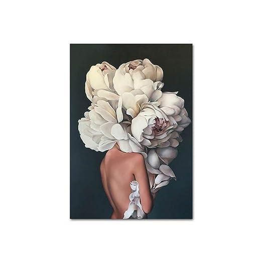 Mujer de la flor de plumas Cabeza cartel de la lona del arte ...