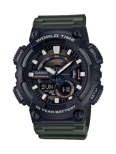 Casio Reloj Analogico-Digital para Hombre de Cuarzo con Correa en Resina AEQ-110W-3AVEF: Amazon.es: Relojes