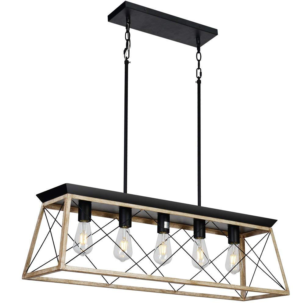 "DEARLAN Rectangular Chandelier Farmhouse Chandeliers Rustic Metal Modern Linear Island Ceiling Lighting Fixture Industrial Pendant Lights for Dining Room Kitchen Living Room L37.4"" W9.8"" E26 x5"