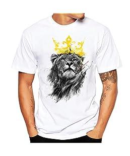 Sensail T-Shirt Homme Chemise à Manches Courtes Blouse Lion Imprimé (Blanc, M)