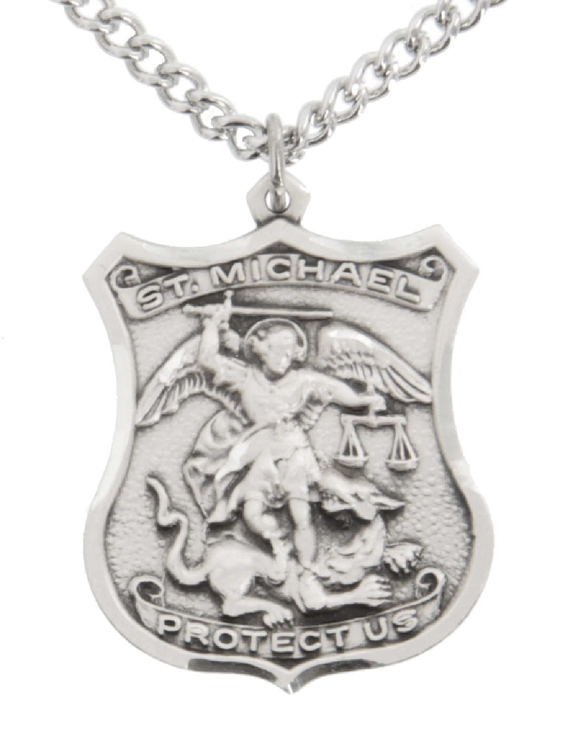 Men's Sterling Silver St Michael Police Officer Medal + 24 inch Sterling Silver Chain with Clasp …