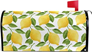 "Pfrewn Tropical Lemon Mailbox Cover Magnetic Standard Size Fruit Flower Leaf Vintage Retro Mailbox Covers Letter Post Box Cover Wrap Decoration Welcome Home Garden Outdoor 21"" Lx 18"" W"