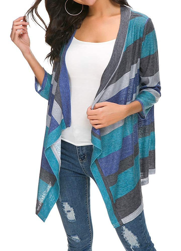 BISHUIGE Womens 3//4 Sleeve Cardigans Striped Printed Kimono Loose Cardigan