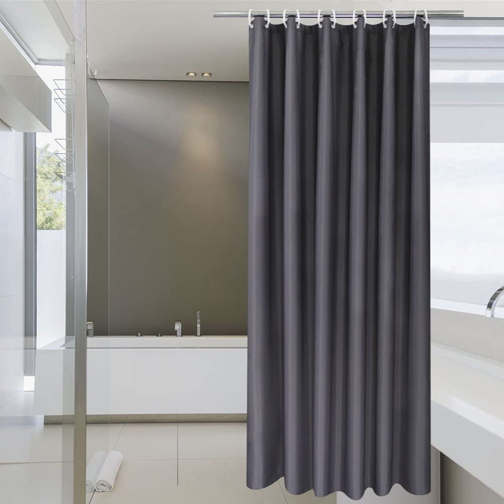 AooHome Hotel Fabric Shower Curtain Liner, Solid Bathroom Curtain with Hooks, Waterproof, Dark Grey, 72 Width x 75 Height Inch