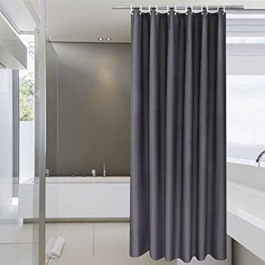 Aoohome Dark Grey Shower Curtain, Fabric Solid Shower Liner for Hotel with Hooks, Waterproof, Weighted Hem, 72x72 inch