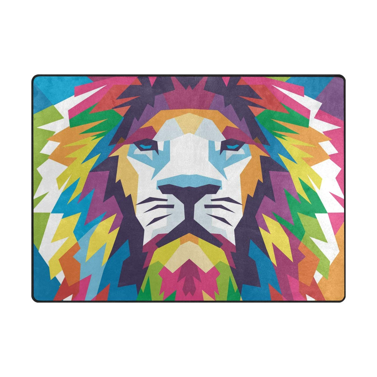 ALAZA Abstract Lion Animal Print Colorful Area Rug Soft Non Slip Floor Mat Washable Carpet for Bedroom Living Room One Piece 4x5 Feet