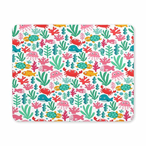 Price comparison product image InterestPrint Standard Size Rectangle Non-Slip Rubber Mouse Pad Funny Sea Animals Fish and Seaweed Mouse Mat