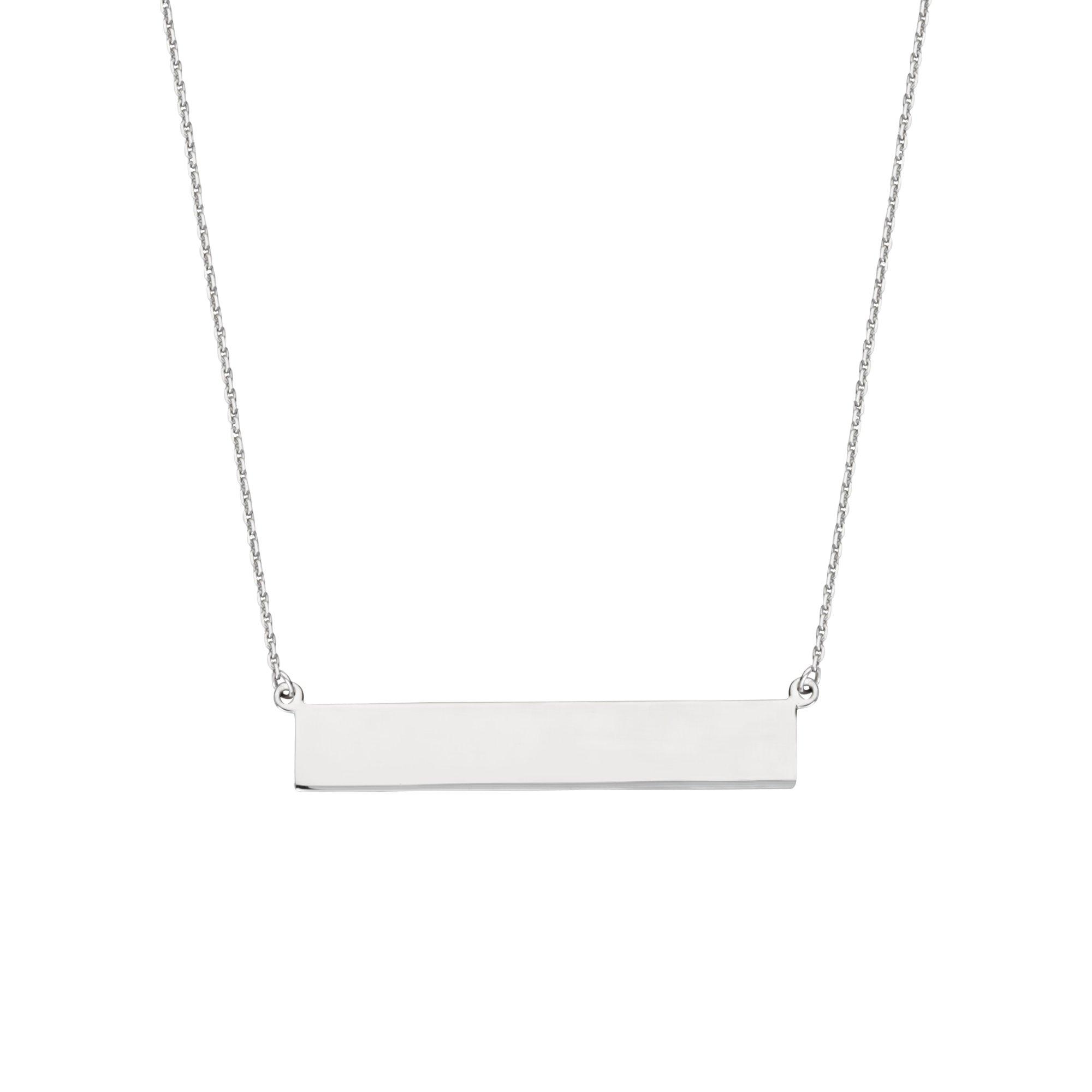 DiamondJewelryNY Silver Pendant, E2W Adj Name Plate Neck