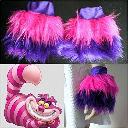 Alice in Wonderland Cheshire Cat Fur Rave cuffs Costume