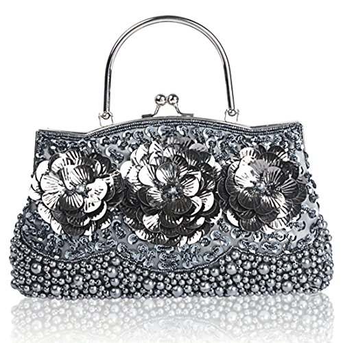 Wedding Prom Gray Glass Flower Evening Bride Women Handbags Bag Sequin Crossbody Bags Clutch Beaded 6qvAZzZ
