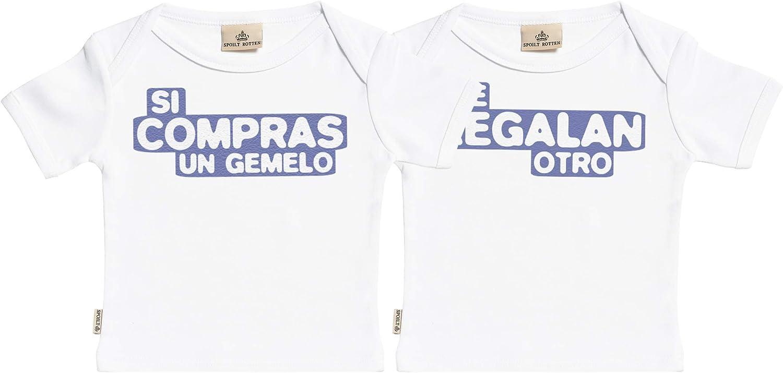 SR - Estuche de presentación - Si Compras un Gemelo & te regalan Otro - Conjunto Gemelo - Camisetas para bebé niño - Camisetas para bebé niña - Conjunto Regalo del bebé Blanco
