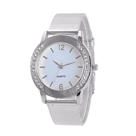 Womens Watch,Fashion Crystal Stainless Bracelet Analog Quartz Business Watch Axchongery (Silver)