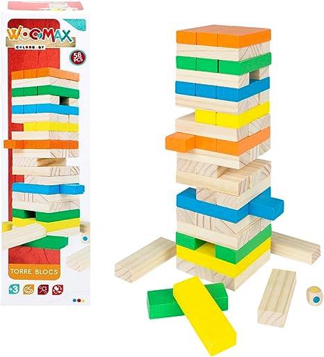 WOOMAX- Torre de bloques madera (ColorBaby 43620): Amazon.es: Juguetes y juegos