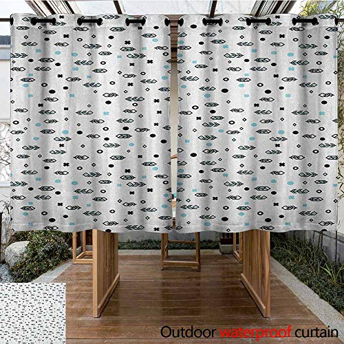 AndyTours Pergola Curtain,Feather,Stylish Modern Arrow Feather Icons with Soft Toned Little Spots Dots Design,for Porch&Beach&Patio,K160C183 Black Blue White