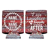 Custom Wedding Can Cooler- Love Laughter And Happily Ever After - Rustic, Vintage Wedding Theme Can Coolers (250)
