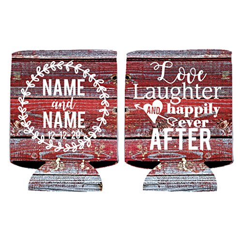 Custom Wedding Can Cooler- Love Laughter And Happily Ever After - Rustic, Vintage Wedding Theme Can Coolers (100)