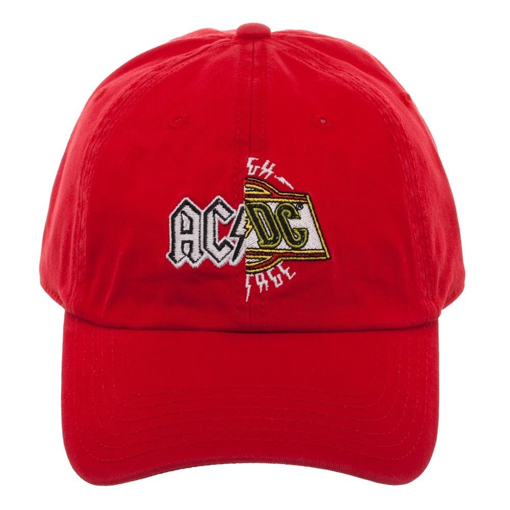 310dccf780388 AC DC Red on White Hard Rock Band Distressed Baseball Cap (Canon Pop-Art)  at Amazon Men s Clothing store
