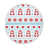 KESS InHouse Original Pixel Penguin Holiday Christmas Pattern Round Beach Towel Blanket
