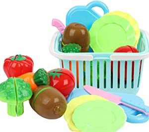 JhyHome Kitchen Toys Fun Cutting Playset Fruit Vegetables Pretend Food Toys with Plastic Grocery Basket for Kids, Educational Play Food Set for Children (10pcs)