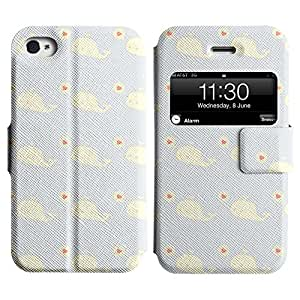 Be-Star Diseño Impreso Colorido Slim Casa Carcasa Funda Case PU Cuero - Stand Function para Apple iPhone 4 / 4S ( Whale Love )