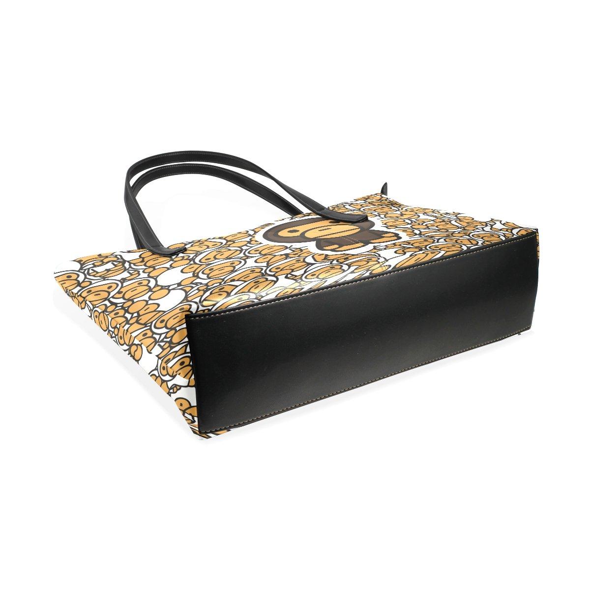 Women Leather Handbags Yellow Paul Frank Top Handle Shoulder Bags