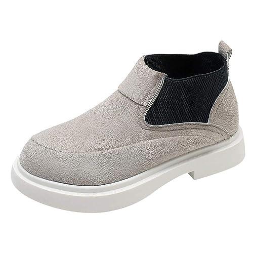 Botines Planos para Mujer Invierno PAOLIAN Zapatos Escolares de Casual Talla Grande Moda Calzado de Terciopelo Dama Suela Blanda Otoño Botas Chukka de Nieve ...