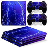 MODFREAKZ™ Console and Controller Vinyl Skin Set - Blue Lightning for PS4 Pro
