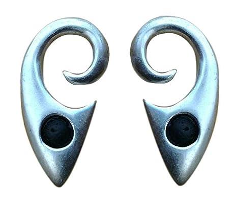 Pesos de oreja de pareja plateados plata con piedra lava - Dos pendientes dilataciones orejas,