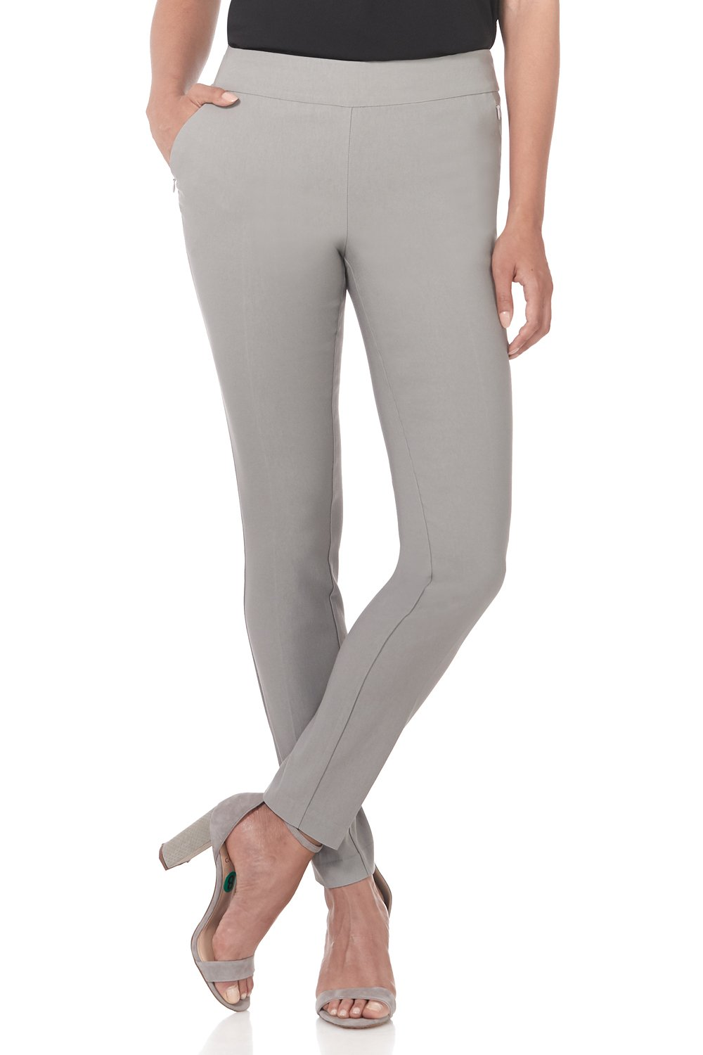 Rekucci Women's Ease in to Comfort Modern Stretch Skinny Pant w/Tummy Control (10,Silver)