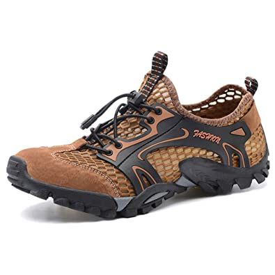 b399523dc85cd1 ailishabroy Sommer Outdoor Trekking Schuh Breathable Leder und Mesh Wanderschuhe  Herren (38