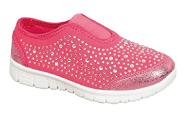 240ace9dedf2 Image Unavailable. Image not available for. Colour: Kids Girls Slip On Sparkle  trainers Pink Black Diamante Glitter Sports Summer ...