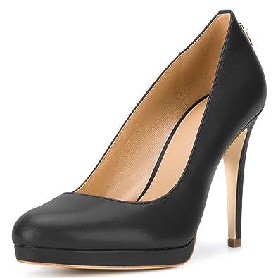 FSJ Women Classic Stiletto Heels Platform Pumps Pointed Toe Formal Shoes  Office Lady Size 4 Black