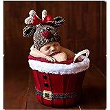 Recién nacido fotografía apoyos bebé niña Crochet trajes trajes de Navidad ciervos