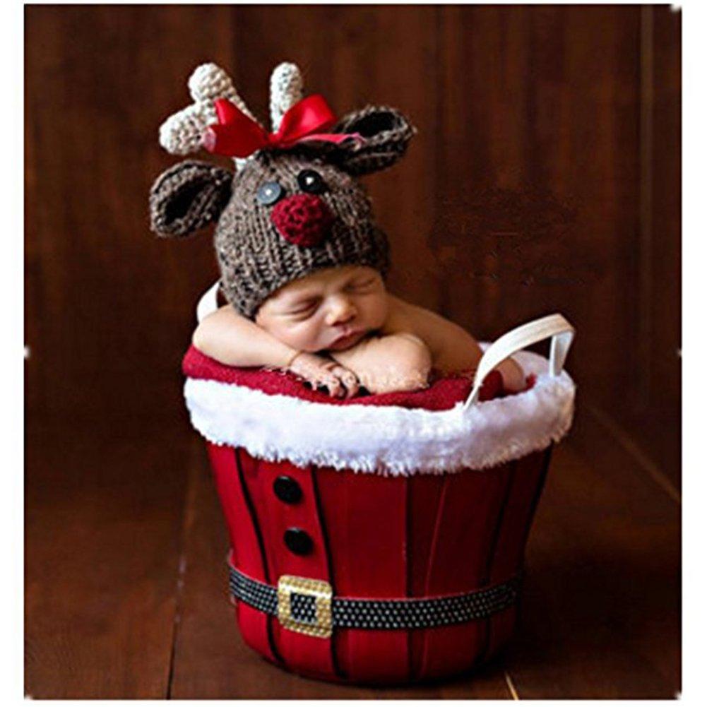 Newborn Photography Props Baby Boy Girl Crochet Costumes Outfits Christmas Deer Binlunnu