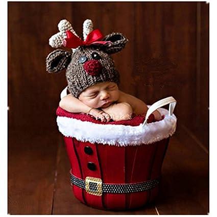 36ec5e4ea7118 nouveau-né Photographie Props bébé garçon fille Crochet tenues de costumes  de Noël Cerf