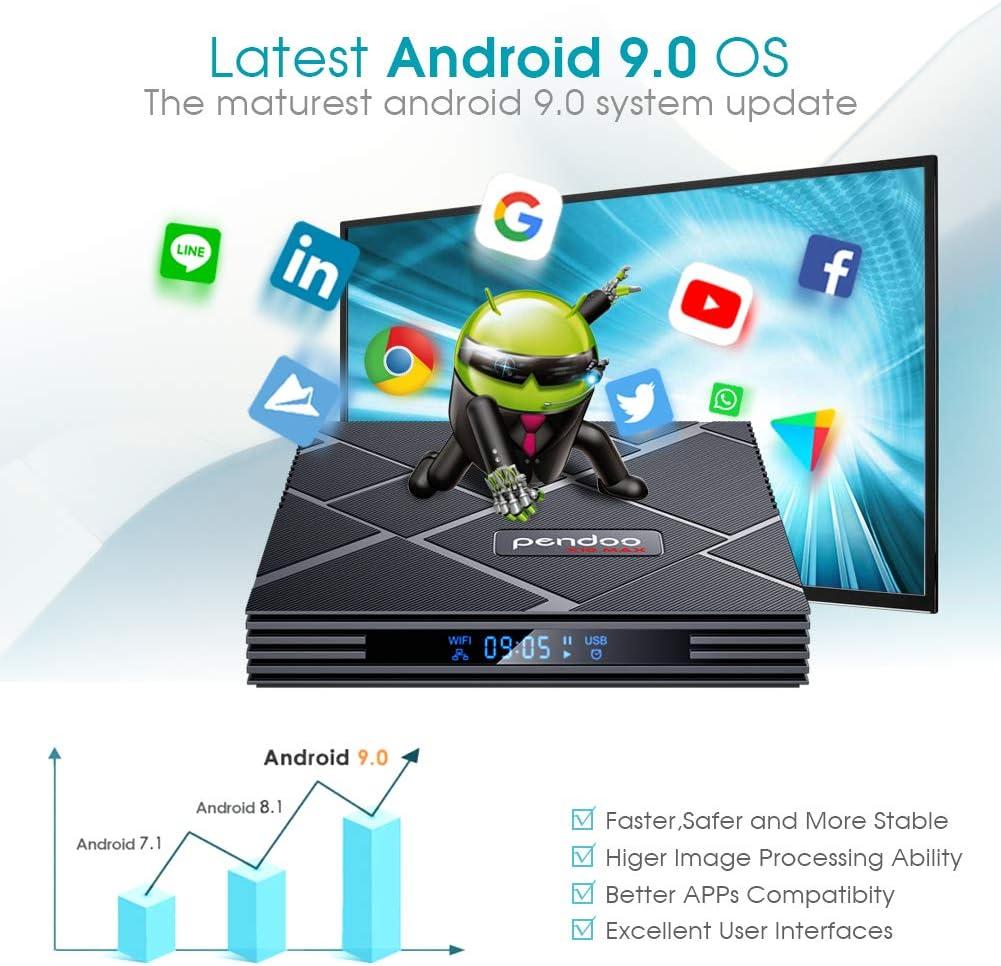 pendoo Android 9.0 TV Box 4GB RAM 64GB ROM, X10 MAX Android TV Box RK3318 Quad-Core 64Bits Dual WiFi 2.4G/5G Bluetooth 3D 4K Ultra HD H.265 USB 3.0 Android Box…