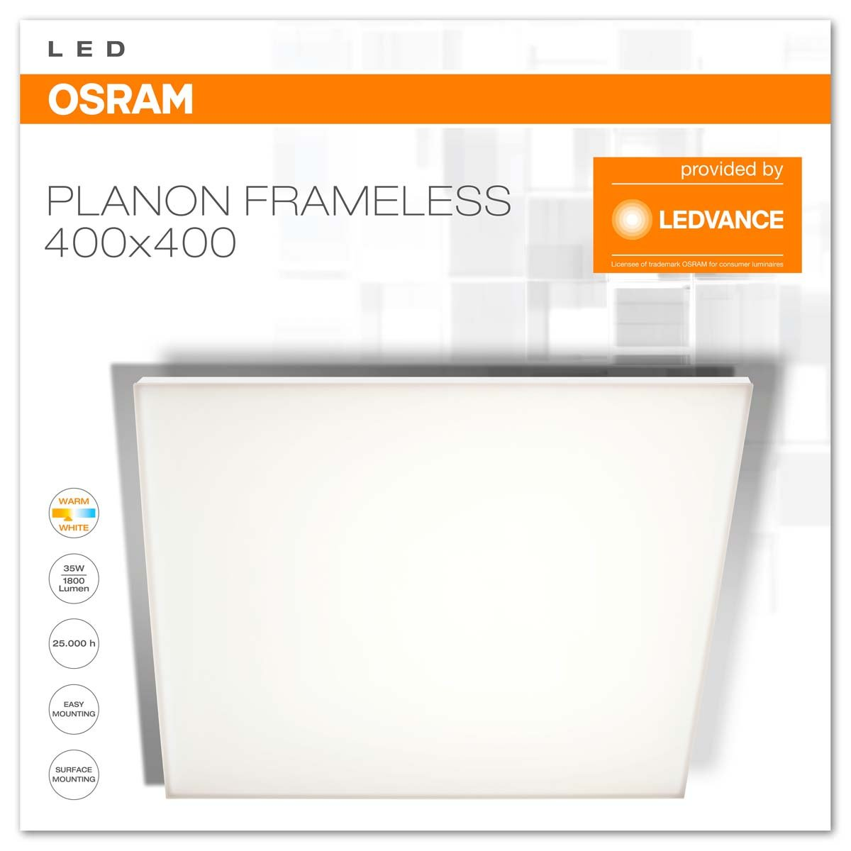 35W 1900lm 60x30cm Dimmable Blanc Chaud//Froid t/él/écommande incluse OSRAM Montage en surface Applique // Plafonnier Ultra Plat LED Planon Frameless