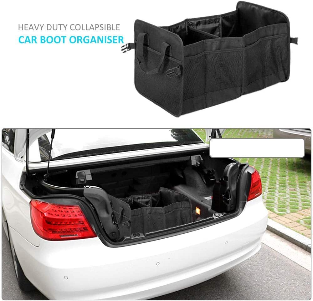 SUNWAN Car Organiser 2 In 1 Heavy Duty Collapsible Stowing Box Car Boot Bags for Travel Shopping Tidy Storage