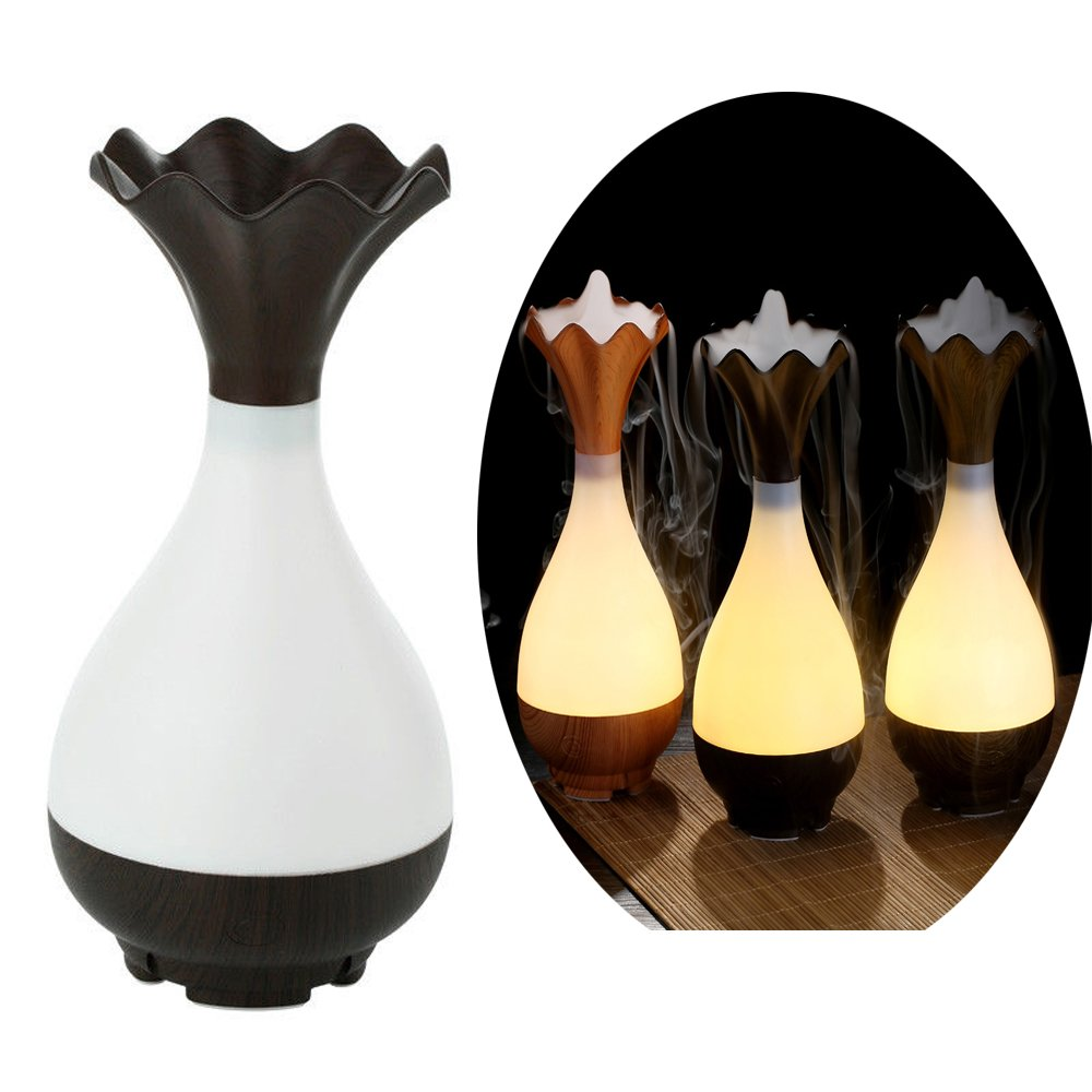 Essential Oil Diffuser Mini Humidifier - Azmall Humidifier Vase Shaped Ultrasonic Humidifier Wood Grain Air Purifier Aroma Essential Oil Atomizer Warm White Led Light Mist Maker DARK WOOD