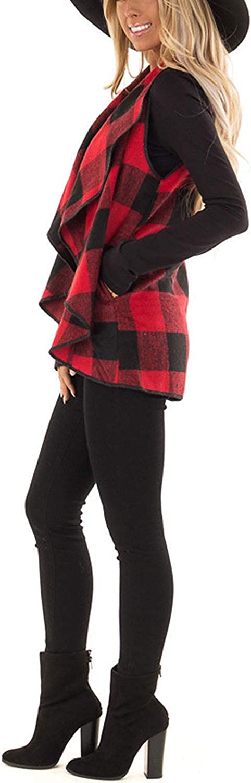 HyunQJ Womens Sleeveless Vest Plaid Hem Drape Open Front Cardigan S-2XL