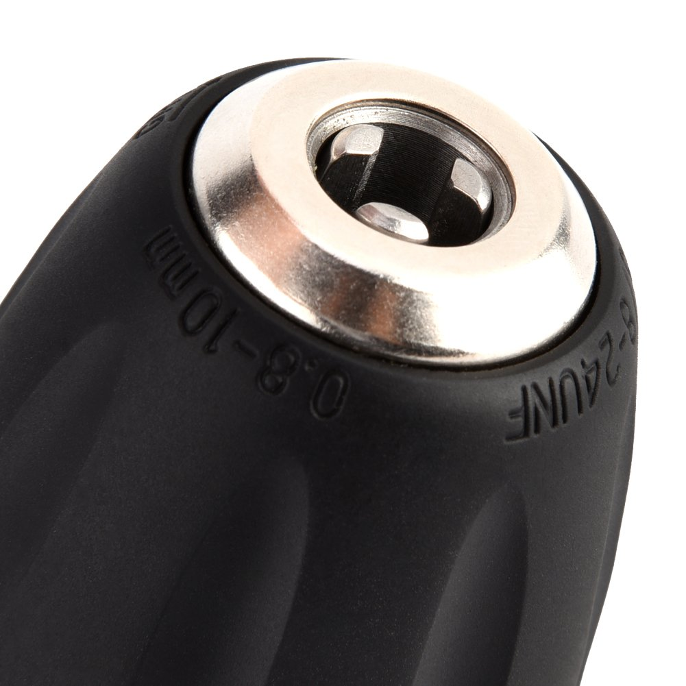 Delaman Keyless Drill Chuck Converter 0.8-10mm 3//8-24UNF 1//4 Hex Shank Adaptor Impact Driver Hardware Tool