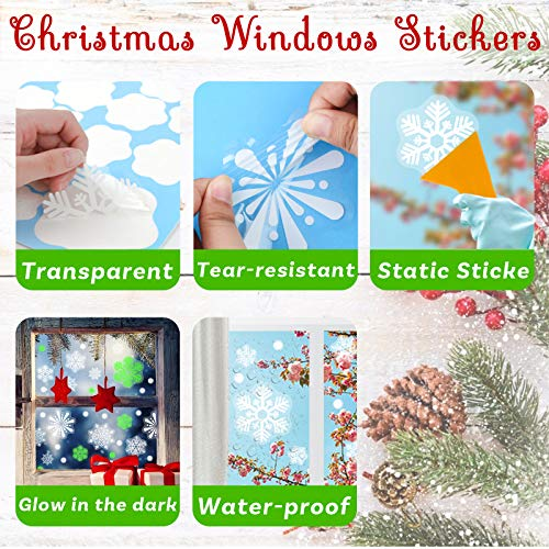 SallyFashion 141PCS Fluorescent Snowflake Window Clings Reusable Window Decals Stickers for Winter Window Decor Christmas Party