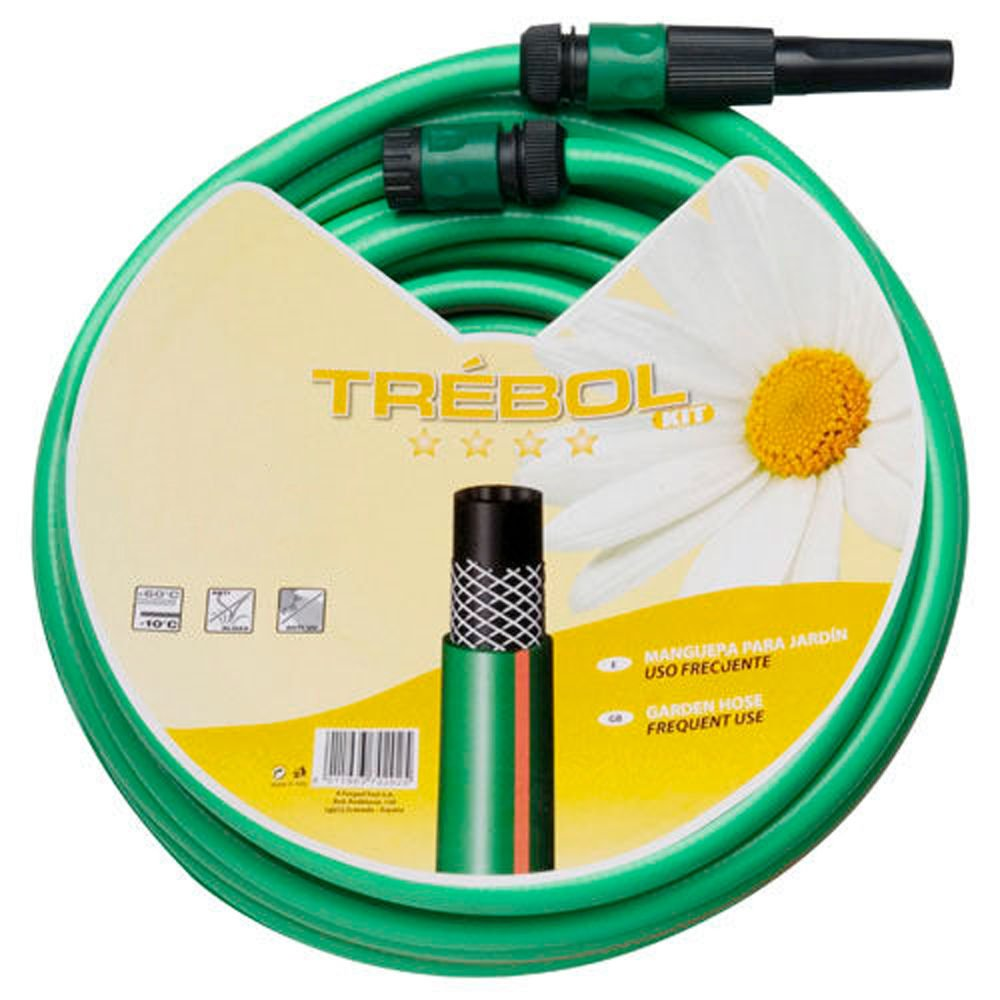 SATURNIA 8070667 Manguera Verde Trebol Trenzado 15 mm. - 5/8' Rollo 15 metros Con Accesorios