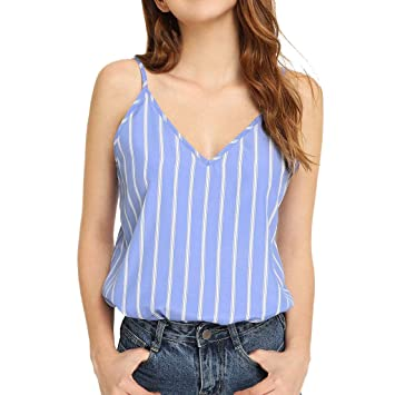 a6838628d7 Amazon.com : NUWFOR Fashion Women V-Neck Sleeveless Cold Shoulder Striped  Print Backless Camis Top(Blue, S US (4-6)) : Beauty