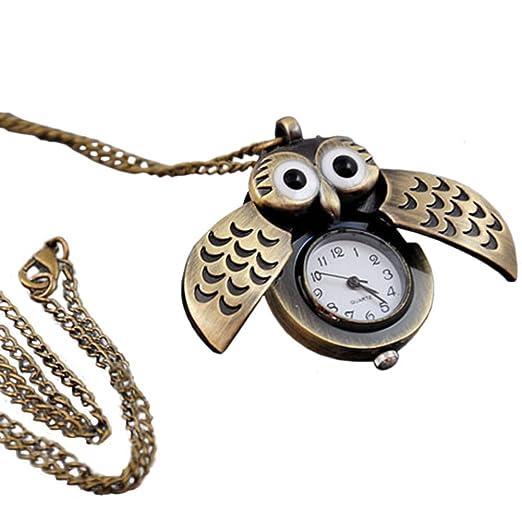 SSXY Reloj de Bolsillo de Bronce Reloj de Bolsillo Digital Reloj con Forma de búho Reloj Vintage para Hombres, Mujeres: Amazon.es: Relojes