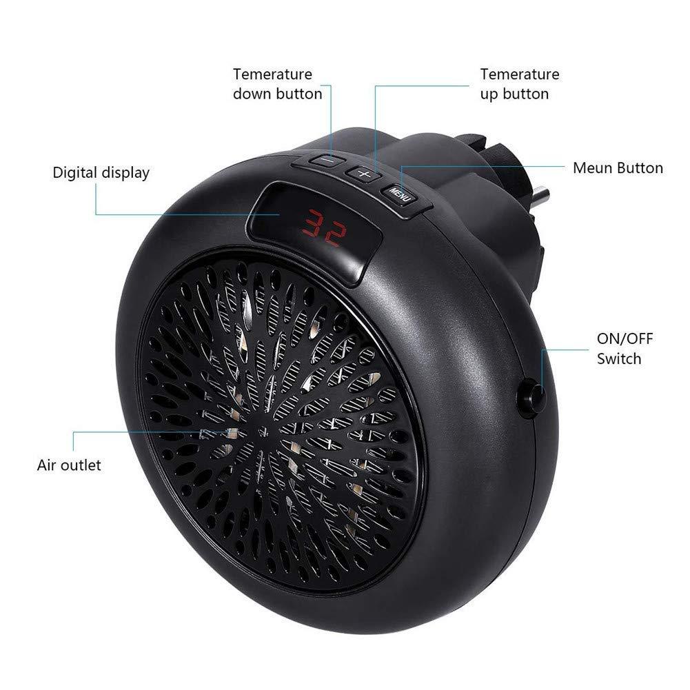 Calefactor Portátil Mini Estufa Eléctrica 1000 W Instant Heater Termoventilador Bajo Consumo con Termostato Ajustable, Adaptador Giratorio Calefactor ...